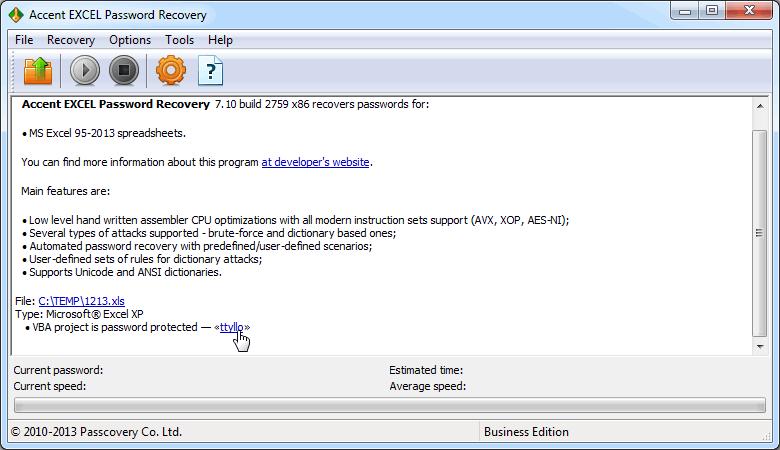 Excel VBA Password Recovery - AccentEPR