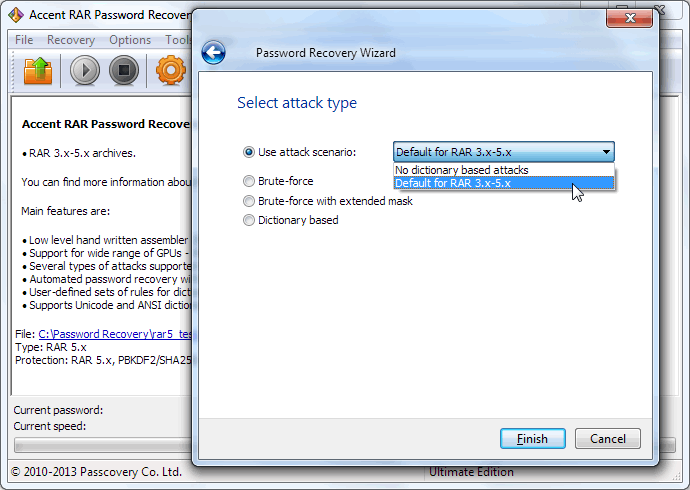 Accent RAR Password Recovery Screenshot