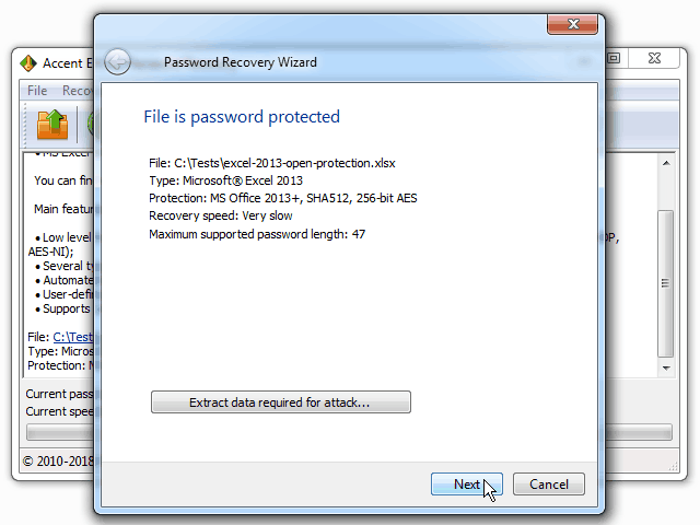 Excel password recovery Screenshot