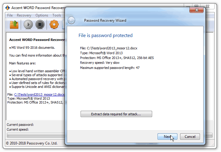 Click to view Accent WORD Password Recovery 7.10 screenshot