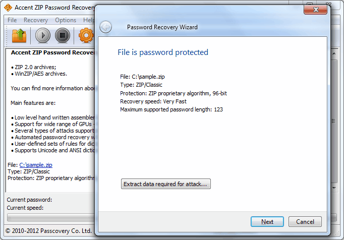 Accent ZIP Password Recovery 4.9