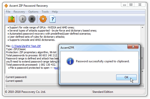 Accent ZIP Password Recovery - GPU-Accelerated Zip Password